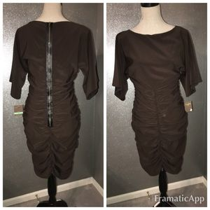 Taylor brown ruched front and back dress: 8